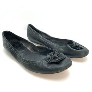 ANTIA Black Genuine Leather Flats Shoes Loafer 9WW